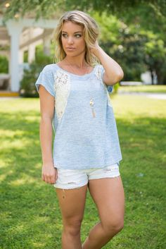 All Is Good Top, Sky Blue || This casual top is way more than just good! It's totally great! All that lace detailing is gorgeous!! The lace part is sheer though so you may want a cami or bandeau underneath! But the jersey knit is thin enough it won't bother you having to layer.
