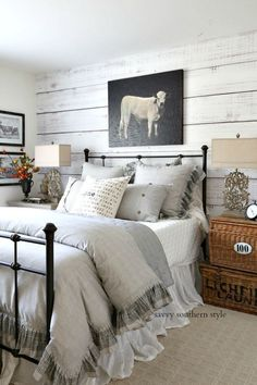 Savvy Southern Style : French Farmhouse Style Fall Bedroom and Tour fall falltour farmhousestyle bedroomdecor neutralfalldecor 788763322220211881 Fall Bedroom, Cozy Bedroom, Home Decor Bedroom, Modern Bedroom, Rustic Bedroom Furniture, Bedroom Brown, Bedroom Bed, Contemporary Bedroom, Wooden Wall Bedroom