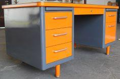 Steelcase Tanker Desk Orange by High Falootin Junk