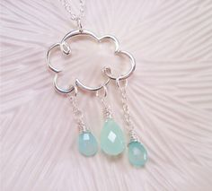 Right As Rain - Light Aqua Chalcedony & Quartz Raindrops and Silver Cloud necklace. $43.00, via Etsy.