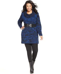 NY Collection Plus Size Cowl-Neck Fringed Belted Tunic Sweater