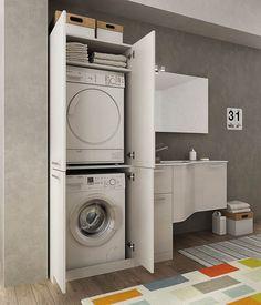 """Dafnedesign.com - Mobile lavanderia porta lavatrice e cesti bucato - Misura: L.206 P.62/35 cm Finitura: Rovere Tranche' Bianco Top: Top Lavabo In Ocritech Con Vasca Integrata - Lampada led, Specchio filo lucido L97 H70 Mensola a giorno 2 vani L15 H70, Pensile 1 anta L25 H70, Base porta asse da stiro L40 H87,5, Base p/Lav. """"Idrus"""" 1 cass. L61 H54, Base cont. 1 anta L35 H54, Top in Ocritech con vasca, Colonna lavatrice/asciugatrice 4 ante, Cestello porta biancheria ..."""
