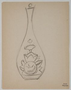 Design drawing for decanter with floral motif, Maurice Marinot, ca. Zentangles, Floral Motif, Decanter, Designs To Draw, Coloring Pages, Collections, Drawings, Image, Art