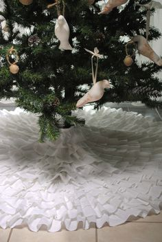 Ruffle Christmas Tree Skirt by PaulaAndErika on Etsy, $180.00