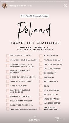 Poland Bucket List : Poland Bucket ListYou can find Poland and more on our website. Travel Checklist, Travel List, Travel Goals, List Challenges, Poland Travel, Future Travel, Places To Travel, Travel Destinations, Trip Planning