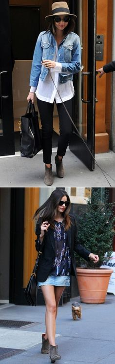 MIRANDAKERR MODEL STREET STYLE SUNGLASSES RAG BONE HAT DENIM JEAN JACKET WHITE SHIRT TOP BLACK CROPPED PANTS TAN BROWN ISABEL MARANT WESTERN BOOTS CELINE TOTE BLAZER ISABEL MARANT NAVAJO PRINT TOP DENIM JEAN SKIRT MIU MIU CROSS BODY SHOULDER BAG 1
