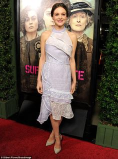 Glowing: A radiant Carey Mulligan was picture perfect as she arrived for the LA premiere o...