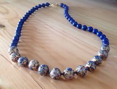 Lapis Lazulli Cloisonne Gold-Filled Necklace by BlkBttrflyDsgns