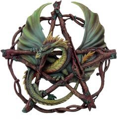 Wall Plaque Anne Stokes Dragon Pentagram Of the Woods Statue Figurine in Collectibles, Fantasy, Mythical & Magic, Dragons Anne Stokes, Dragon Vert, Green Dragon, Dragon Medieval, Medieval Fantasy, Celtic Dragon, Celtic Art, Pentacle, Figurine Dragon