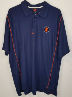 Nike Team Illinois Illini Mens Navy Blue Embroidered Short Sleeve Polo Shirt XL #Nike #PoloRugby