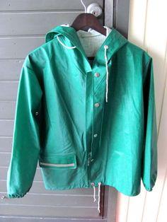 Vintage-Classic-1970-s-Green-PVC-Rukka-Rain-Coat-Size-14