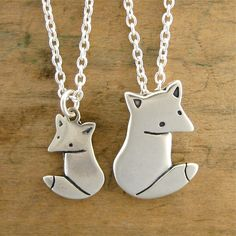 Mother Daughter Grey Fox Necklace Set