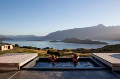 Aro Hā Wellness Retreat, New Zealand  Overlooking Lake Wakatipu in the southern Alps, this eco-retreat has an icy plunge pool as well as an outdoor hot tub, both filled with fresh water from the hotel's spring.