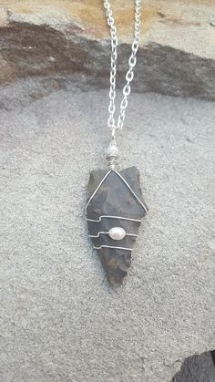 Ancient Native American Indian Arrowhead Wire Wrapped Pendant