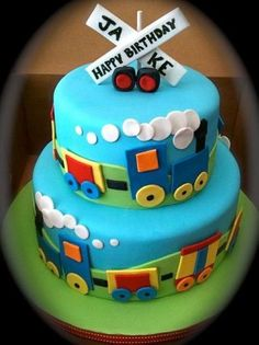 Double layer colorful train cake for birthday party Trains Birthday Party, Train Party, Cool Birthday Cakes, 2nd Birthday Parties, 6 Train, Birthday Ideas, Train Birthday Party Cake, Boy Birthday, Birthday Candy