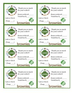 Printable Brownie Girl Scouts Cookie Sales Invoice and Thank you Card (8 per sheet) Just download, open and print! I had trouble finding any free printables for my daughter to attach to her orders, so created these. Hope they help someone else, too : ) Free Printable Brownie Girl Scouts Cookie Sales Thank You Cards with Invoice Includes: Boxes ordered, total owed, Cash or Check, Troop #