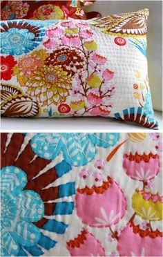 This is a great way to make a fabric print pillow something special. This type of embroidery is easy and fun.