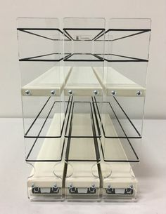 Organize cabinet spices or other small kitchen items in this slim multi-level organizer rack from Vertical Spice. This clear-view rack has 3 slide out drawers. Spice Rack Vertical, Pull Out Spice Rack, Kitchen Spice Racks, Diy Kitchen Storage, Office Furniture Design, Space Saving Furniture, Spice Rack Organization, Kitchen Organization, Vintage Industrial Furniture