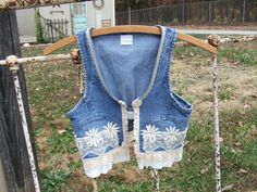 Shabby Chic style vest Girls size 6-8 vintage lace unique vintage style upcycled denim