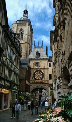 Le Gros Horloge - Rouen, Normandie.  I couldn't get a distance shot, so I'm pinning someone else's photo.