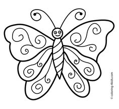 Butterfly coloring pages nice for kids, printable free