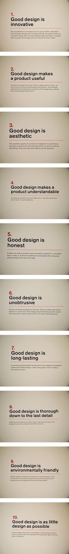 "Dieter Rams' ""Ten principles for Good Design"". If you like UX, design, or design… Visual Design, Ux Design, Tool Design, Layout Design, Branding Design, Life Design, Design Thinking, Lettering, Typography"