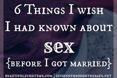 6 Things I Wish I had Known About Sex (Before I Got Married) - Marriage (and sex) isn't always what you think it will be. Check out these awesome tips to and find out you may not be alone in your thoughts on marriage and sex! marriage, marriage tips Marriage Relationship, Happy Marriage, Marriage Advice, Love And Marriage, Marriage Help, Waiting For Marriage, Young Marriage, Sexless Marriage, Biblical Marriage