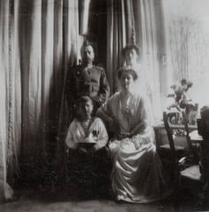 "Tsar Nicholas II of Russia and Empress Alexandra Feodorovna of Russia with their second daughter,the Grand Duchess Tatiana Nikolaevna Romanova of Russia and only son,Tsarevich Alexei Nikolaevich Romanov of Russia in 1913. ""AL"""