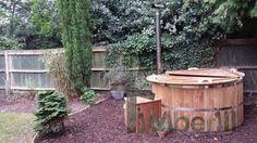 Wooden hot tub in the cosy garden Garden Ideas Uk, Hot Tub Garden, Garden Landscaping, Landscaping Ideas, Hot Tubs, Landscape, Wood Burning, Cosy, Outdoor