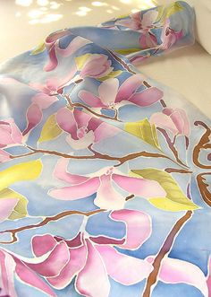 Blue silk scarf MAGNOLIA FLOWERS hand painted pastel colors blue scarves…