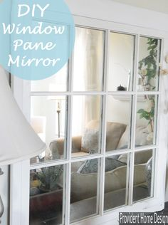 This DIY mirrored window pane is a super easy way to get the Pottery Barn look for A LOT less! A great DIY home decor project with fabulous results. Window Pane Mirror, Old Window Panes, Faux Window, Window Frames, Window Pane Decor, Window Ideas, Mirror Mirror, Pottery Barn Look, Old Windows