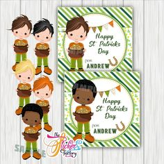 Custom St Patrick's Day Printable Tags- Boy St Patrick's Wishes Personalized Tags-DIY (You Print) tags-Digital File Sticker Paper, Stickers, Happy St Patricks Day, Personalized Tags, Day Wishes, Paper Tags, Kid Names, Gift Tags, Saints