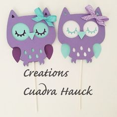 Owl Lavender and teal/ Owl purple lavender by CreationsCuadraHauck