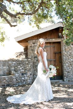 Romantic Vineyard Wedding. Love the dress, love the hair, love the wedding details!