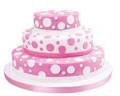 Pink polka dot wedding cake