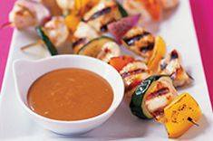 Make these better-for-you Sweet BBQ Chicken Kabobs at your next barbecue. These Sweet BBQ Chicken Kabobs have an island vibe thanks to the OJ & pineapple. Chicken Kabob Recipes, Chicken Kabobs, Bbq Chicken, Cashew Chicken, Stuffed Chicken, Cheesy Chicken, Chicken Salad, Kraft Recipes, Homemade Chicken Fingers