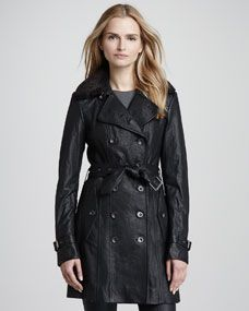 Shearling-Collar Leather Trenchcoat