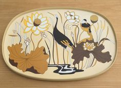 Items similar to Vintage St Michael Melamine Tray- Stork and Floral Design- Smaller Size on Etsy