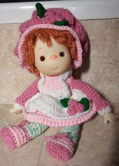 VINTAGE STRAWBERRY SHORTCAKE Doll Handmade Crocheted with Vinyl Face and Hands #Dolls