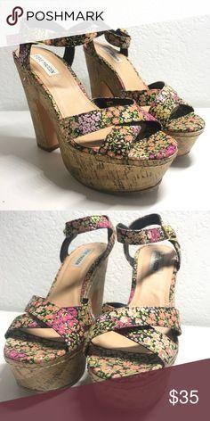 Steve Madden Multi Floral Platform Heels 5 1/2 inch heel height and 1 1/4 inch platform heel by Steve Madden :) multi floral straps. Worn once. Steve Madden Shoes Platforms