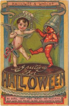 "Very Rare Vintage Halloween Postcard - I. S. E. | eBay.  ""...win the prize in the Halloween cake"".  See diamond ring prize!"