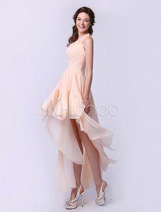Brautjungfer-Kleid aus Chiffon mit Einschulter in Champagnerfarbe - Milanoo.com
