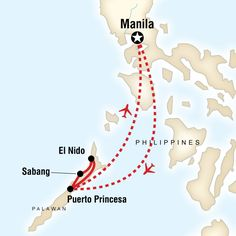 Map of the route for Southern Philippines Palawan Adventure Philippines Palawan, Manila Philippines, Philippines Travel, Small Group Tours, Small Groups, Puerto Princesa Palawan, G Adventures, Beaches In The World, Adventure Tours