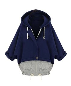Preppy Color Block Batwing Sleeves Cotton Hoodies - Sweatshirts & Hoodies - Clothing