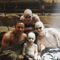 Nicholas Hoult with Jacob Tomuri (Tom Hardy's body double) on the set of Mad Max Fury Road