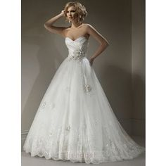 wedding dresses sweetheart neckline fit and flare lace puffy - Google Search