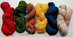 Rick colors of naturally dyed wool yarns