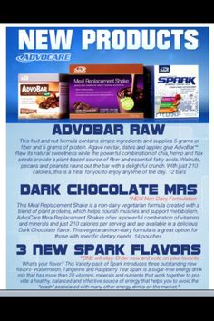 NEW ADVOCARE PRODUCTS! GO TO: www.advocare.com/120522324 & check them out.