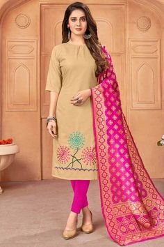 Enhance your ethnic charm by wearing this dark beige cotton trouser suit which will provide you with unmatched all-day comfort This round neck and elbow sleeve outfit accentuated with thread work. Presented with cotton cigarette pants in fuchsia pink color and fuchsia pink banarasi silk dupatta. Cigarette pant is plain. #trousersuit #salwarkameez #malaysia #Indianwear #Indiandresses #andaazfashion Trouser Suits, Trousers, Pantalon Cigarette, Silk Dupatta, Dark Beige, Straight Cut, Jacket Style, Indian Dresses, Indian Wear