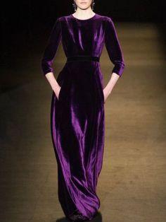 Lila Unifarben Samt Langarm Kleider Party kleider Lila Vintage Velvet C Velvet Fashion, Purple Fashion, Look Fashion, Womens Fashion, Beautiful Gowns, Beautiful Outfits, Trendy Dresses, Casual Dresses, Dresses Dresses